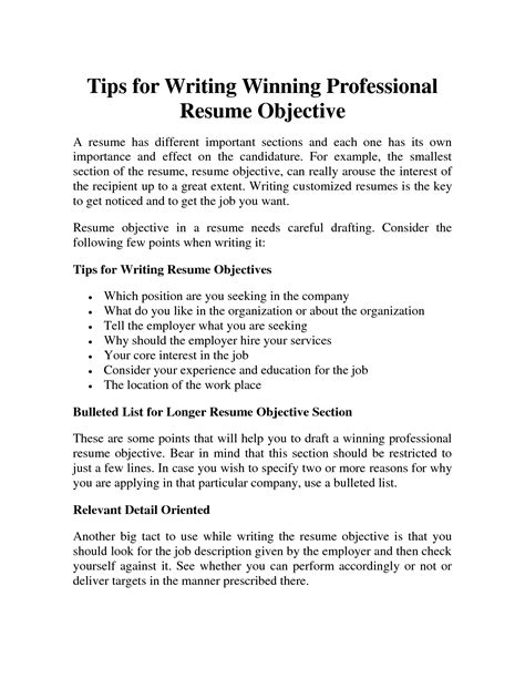 Professional Objective In Cv by Professional Resume Objective Slesprofessional Resume