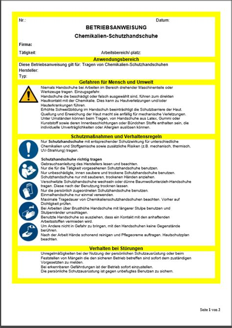betriebsanweisung chemikalienschutzhandschuhe sofort