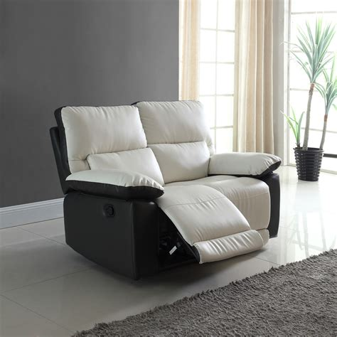 Bonded Leather Loveseat by Modern Two Tone Bonded Leather Oversize Recliner Loveseat