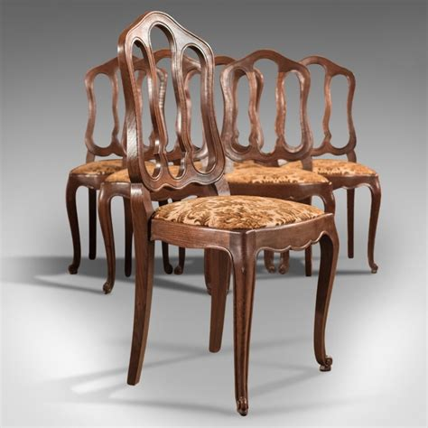 Set Of 6 Antique French Dining Chairs, Country Oak C1900