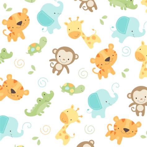 Baby Jungle Animals Wallpaper - jungle babies fabric by maudie illustration awesomeness