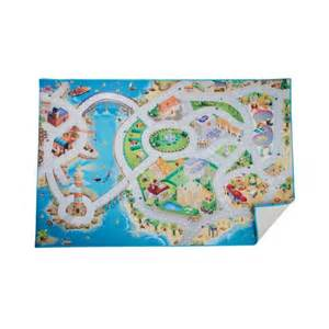 tapis de jeu sur une ile pour enfants avec routes maisons pont etc circuit pour