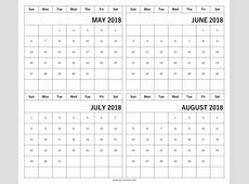 May June July August Calendar 2018 lacalabaza