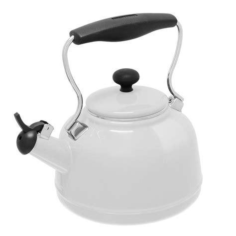 retro tea kettle chantal vintage 6 8 cups enamel on steel glossy white tea 1949