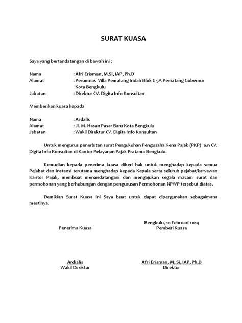 Contoh Surat Kuasa Pembuatan Npwp Perorangan Doylc Asia