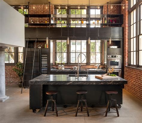 cuisine design industrie industrial loft kitchen invites exercise ladder climbing