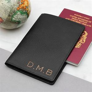 mens personalised luxury leather travel document holder With mens passport and document holder