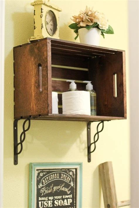 shelf   inexpensive crate stained  dark brown
