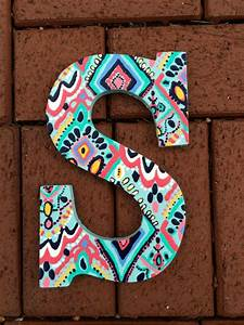 hand painted lilly pulitzer inspired wooden letter s in With letters to paint on wood