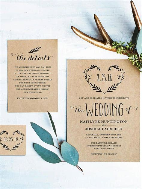 15 beautiful rustic DIY wedding invitations   Cute Wedding
