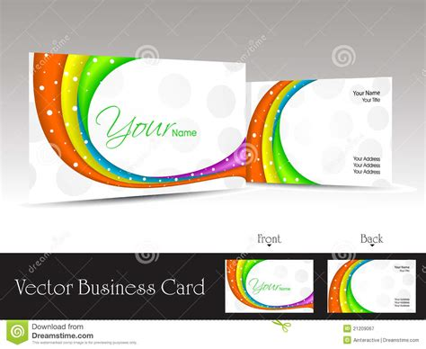 White Background Business Card With Colorful Waves Stock
