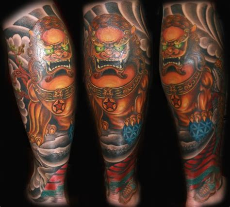 foo dog tattoo ink tattoos calf tattoo foo dog tattoo