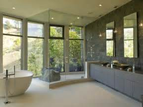 modern style master bathroom opens to hollywood hills view