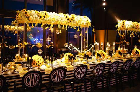 yellow black white sunflower theme wedding reception