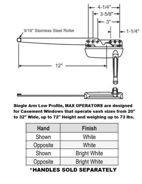 max series casement window operator hardware  arm single arm  profile crank operator