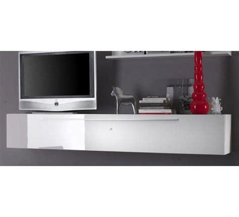 canape cuir fly meuble télé laqué blanc avec étagère 3849