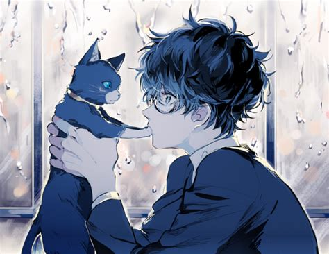 Cool Cat With Glasses Wallpaper Download 1600x2560 Persona 5 Kurusu Akira Anime Boy Cat Glasses Profile View Cute