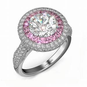 Double halo engagement ring pink sapphire flame of love for Wedding rings with pink