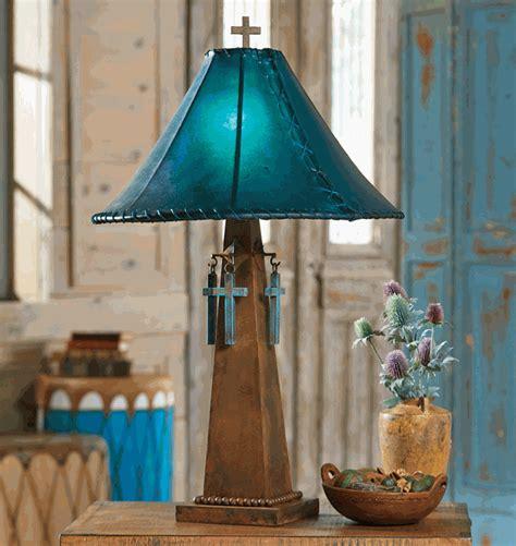 santa cruz turquoise table lamp  rawhide shade