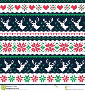 Scandynavian Winter Seamless Pattern With Deer And Hearts ...