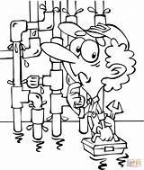 Plumber Coloring Drawing Tubes Printable Getdrawings Toilet sketch template