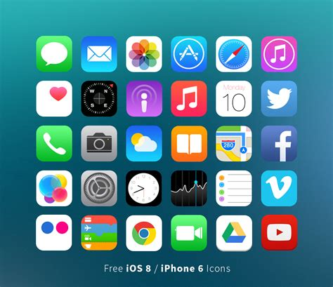 iphone 6 icons lively green free ios 8 iphone 6 vector icons