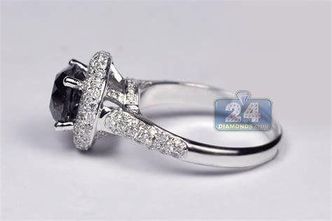 Womens Black Diamond Halo Engagement Ring 14k White Gold 3