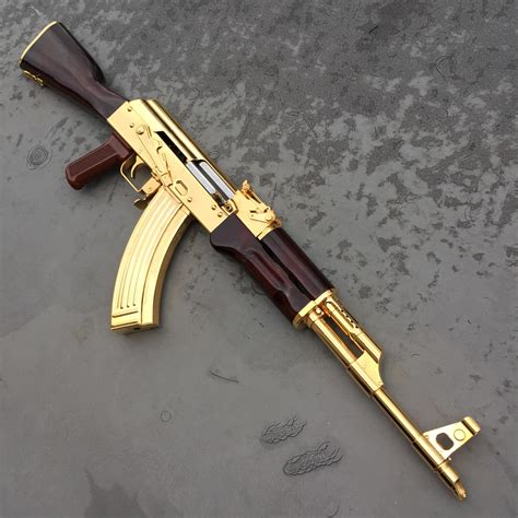 gold plated ak47 2448x2448 oc gunporn