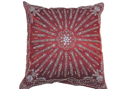 Maddie Beaded Lumbar Pillow Cover Traditional by Burgundy Beaded Large Sham Handmade Decorative