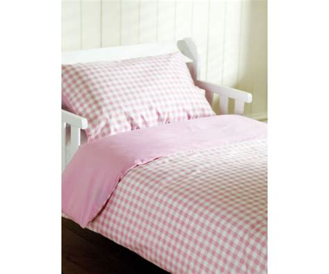 Saplings Cot Bed Duvet Cover + Pillow Case Pink Gingham