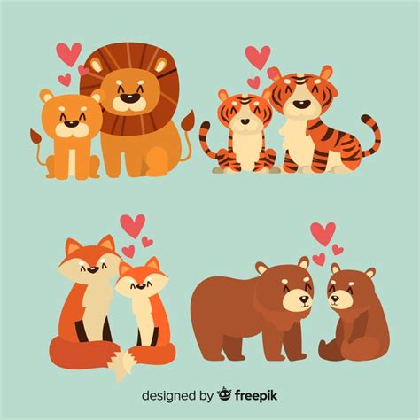 Are you searching for couple animal png images or vector? Cute animal couples collection for valentines day Vector ...