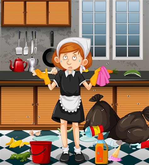 maid cleaning dirty kitchen