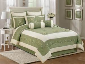 chezmoi collection 7pcs olive green beige embroidered floral comforter set queen ebay