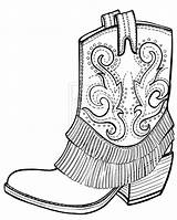 Coloring Boots Cowgirl Pages Cowboy Neo sketch template