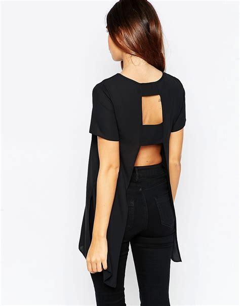 17256 back shirt asos asos longline t shirt with open back at asos