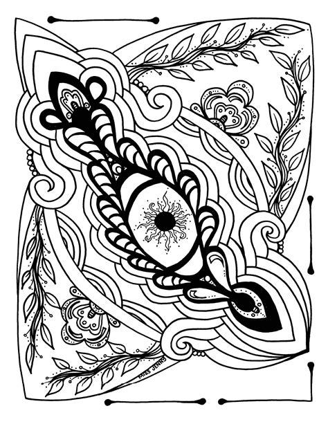 Eye Love Art Therapeutic Coloring Page or Tattoo Art by