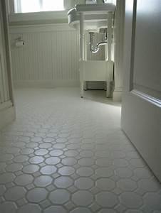 white porcelian hexagon floor tile shown installed the With kids bathroom flooring