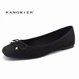 Ballet Flats Shoes Women Black Suede Ballerina Flats ...
