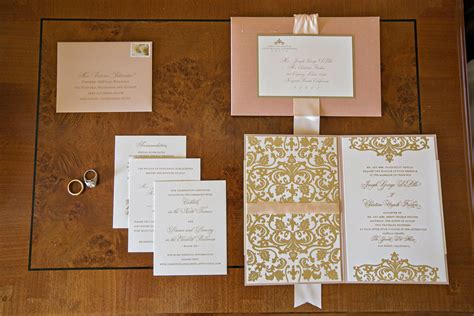pink  champagne colored elegant wedding invitations