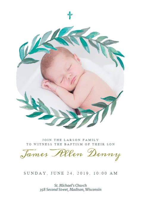 Bay Laurel Baptism & Christening Invitation Template