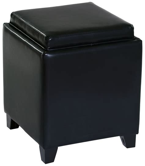 leather ottoman with storage and tray rainbow black bonded leather storage ottoman with tray