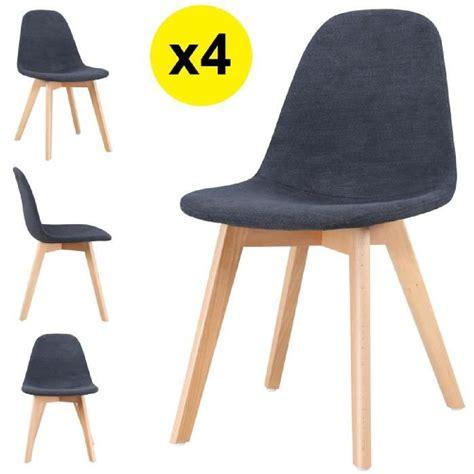 chaises tissu lot de 4 chaises scandinaves tissu gris foncé skagen