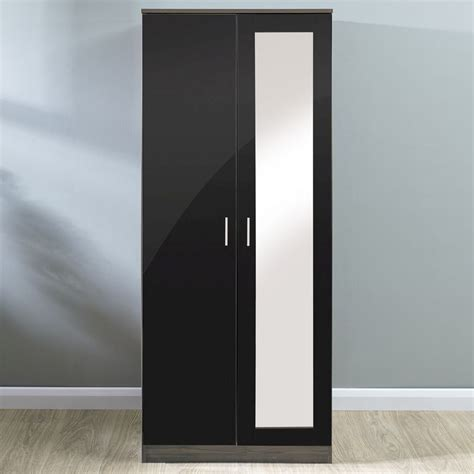 Buy Black Wardrobe by Melbourne Black Walnut 2 Door Wardrobe Buy At