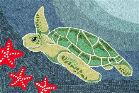 Turtle Doormat by Area Rugs Quot Turtle Bay Quot Rug Sea Turtle And Starfish