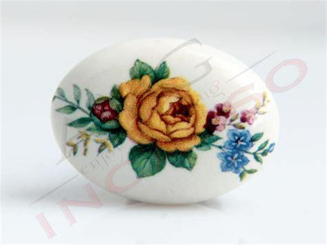 pomelli per ante cucina pomolo pomello 670 11 fiore giallo porcellana ceramica
