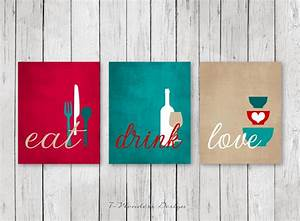 Kitchen wall art print set eat drink love red teal tan for Kitchen colors with white cabinets with home sweet home canvas wall art