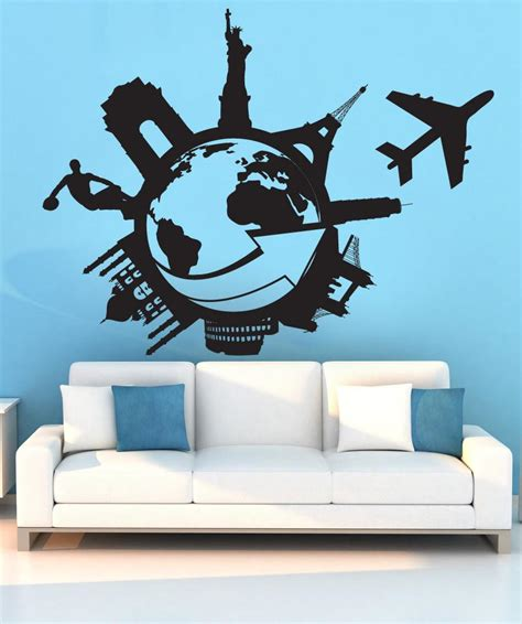 vinyl wall decal sticker travel the world 1206
