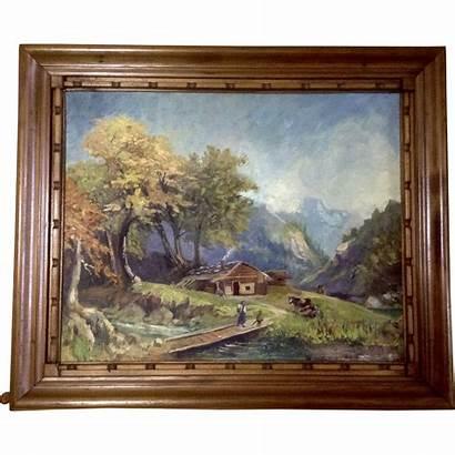 Oil Rural Landscape Painting Paintings Valley Homestead
