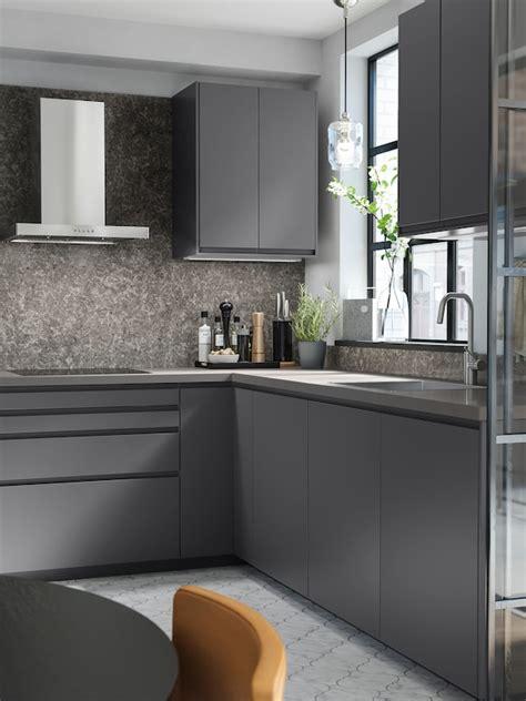 Ikea voxtorp chestnut kitchen lake house kitchen interior. VOXTORP dark-grey kitchen - for a clean look - IKEA
