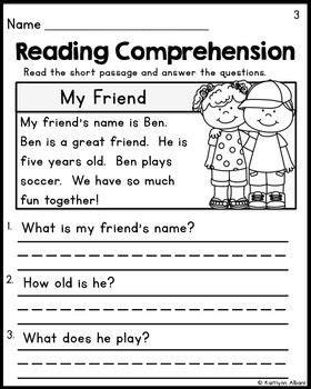 kindergarten reading comprehension passages set